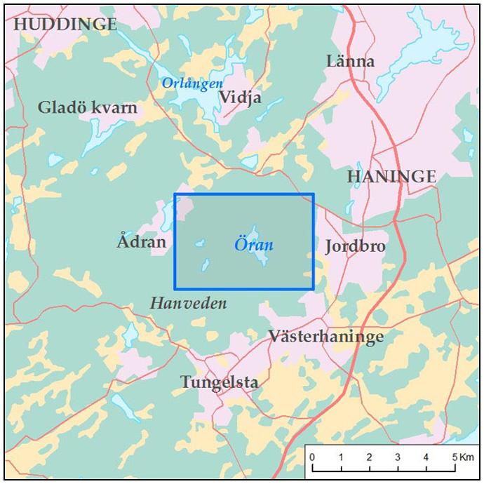huddinge karta Karta för vandring runt Öran, Huddinge | Rundslingor huddinge karta