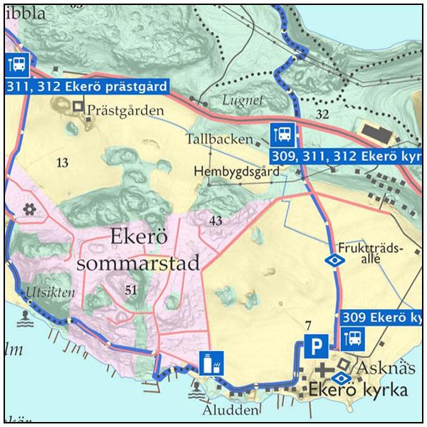 Karta For Promenad Kring Ekero Sommarstad Rundslingor